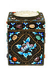 Chinese Silver Enamel Box with White Jade Plaque