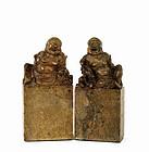 2 Early 20C Chinese Soapstone Seal Happy Buddha