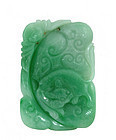 Early 20C Chinese Jadeite Pendant Bat & Toad