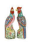 Pair of Chinese Famille Rose Phoenix Bird Mk