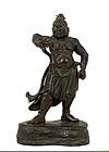 Old Japanese Bronze Guardian Buddha Figurine