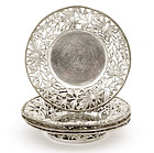 4 Old Chinese Silver Reticulated Flower Dish Marked