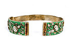Old Chinese Silver Enamel Peach Bangle Bracelet