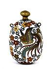 Japanese Cloisonne Perfume Bottle Phoenix & Butterfly