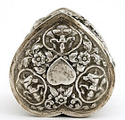 Hindu India Indian Silver Heart Shape Box Buddha