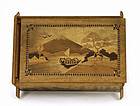 Old Japanese Inlaid Wood Puzzle Box Mountain Scene