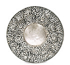 Japanese Silver Dish Tray Chrysanthemum Flower Sg