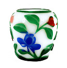 Early 20C Chinese Four Color Peking Glass Jar Flower