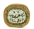 19C Chinese Jade Plaque Turquoise Gilt Bronze Box