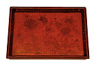 Chinese Cinnabar Chrysanthemum Tray