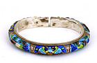 Chinese Silver Enamel Bangle Mk