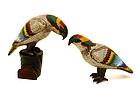2 Chinese Cloisonne Parrot Bird Figurine
