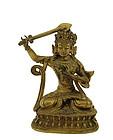 Late 19C Chinese Gilt Bronze Buddha Figurine Figure