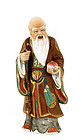 Old Chinese Famille Rose Shoulo Staff Figurine MK