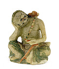 19C Chinese Soapstone Louhan Figurine Figure