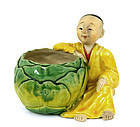 Japanese Banko Child Figure Pot