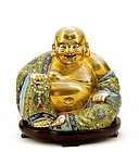 Early 20C Chinese Gilt Famille Rose Happy Buddha Mk