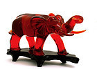 Lg Chinese Cherry Amber Bakelite Carved Elephant