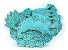 Early 20C Chinese Turquoise Kilin Plaque Pendant