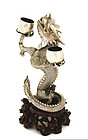 Late 19C Chinese Silver Dragon Candle Holder Mk
