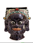 19C Chinese Famille Verte Mask Head Temple Guardian