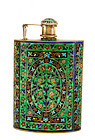 India Indian Hindu Silver Enamel Flask