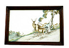 Early 20C Chinese Famille Rose Plaque Deer