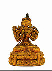 19C Chinese Wood Lacquer Buddha Figurine Figure