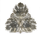Old Persian Islamic Silver Leaf Shape Dish Tray