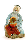 Old Chinese Famille Rose God Figurine Figure Mk