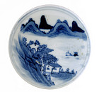 Old Chinese Blue & White Ink Box Mountain Scene