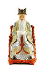Old Chinese Famille Rose God Shoulo Figurine Figure