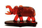 Large Chinese Cherry Amber Bakelite Carved Elephant