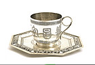 Early 20C Chinese Silver Tea Cup & Saucer