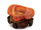 19C Chinese Carnelian Agate Bat Scholar Water Coupe
