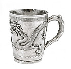 Early 20C Chinese Silver Dragon Cup Mk