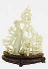 Chinese Jade Carved Lady & Boy Figurine Figure