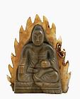 Late 19C Chinese Agate Quan Yin Buddha Figurine