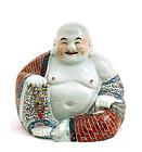 Early 20C Chinese Famille Rose Happy Buddha Figurine Mk