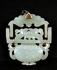19C Chinese White Jade 10k Basket Pendant Brooch