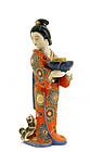 Japanese Kutani Kimono Geisha Puppy Candle Holder