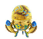 Chinese Gilt Silver Enamel Egg Box Fish Mk