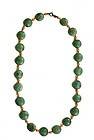 Late 19C Chinese Spinach Jade Bead Necklace