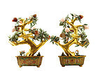 2 Chinese HardStone Peach Tree Cloisonne Planter