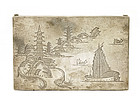 Chinese Sterling Silver Box w Pagoda River Scenery