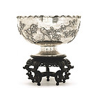 19C Chinese Silver Bowl Bird w Stand Original Box