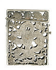 Chinese Reticulated Silver Dragon Card Case Marked