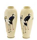2 Japanese Gyozan Satsuma Vase Cobalt Crane Sg