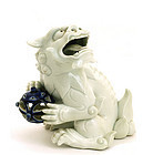 19C Japanese Blue White Hirado Fu Foo Dog Lion Shishi