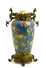 19C Chinese Cloisonne Flower w Kilin Ear Lamp Vase